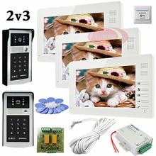 On sale Free Shipping 2 HD 700lines Cameras Code And RFID Cards Unlock 3 Monitors 7″ LCD Video DoorPhone Intercom System Doorbells