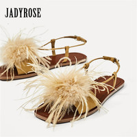 Jady Rose Fashion Feather Decor Women Sandals Fur Flat Shoes Ladies Summer Beach Shoes Woman Valentine Shoe Casual Flats