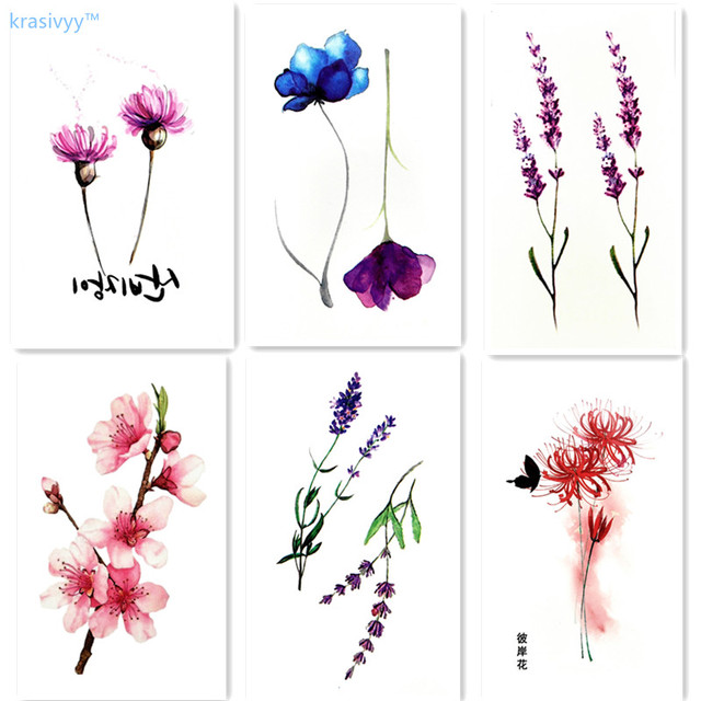 Krasivyy temporary tattoos stickers flash tattoo plum lavender ...