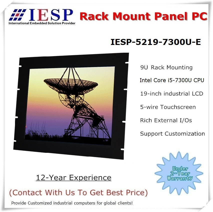 Rack Mount Industrial Panel PC, 19 Inch LCD, I5-7300U CPU, 8GB RAM, 500GB HDD, 4*RS232, 4*USB, Touch Panel Pc, Industrial HMI