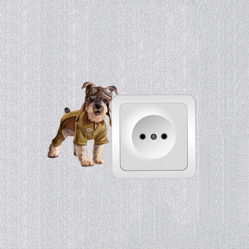 YOJA Giyinmiş Köpek Duvar Sticker Renkli Anahtarı PVC Aile Odası Yatak Odası Dekor 8SS0305