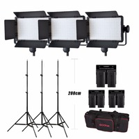 Hot Godox 3x LED500W Kit 5600K 8700LUX LED Video Continuous Light Lamp Panel + stand + battery + battery charger W/ carrying Bag