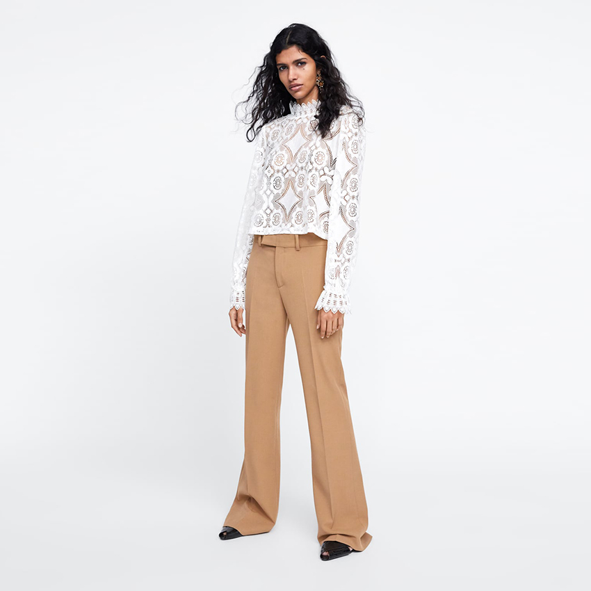 New Fashion 2019 autumn Long sleeve laced blouses Streetwear o-neck white Floral Spliced blouses ladies casual shirts