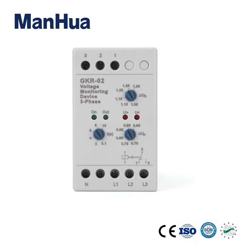 ManHua AC GKR-02 Protective Device Voltage Relay With Low Power 3 Phase Sealed Voltage Monitoring Relay