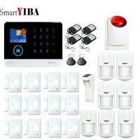 SmartYIBA Intelligence Wireless Infrared Remote Control Wireless Solar PIR Wireless Strobe Siren SMS GSM Alarm System Smart Home