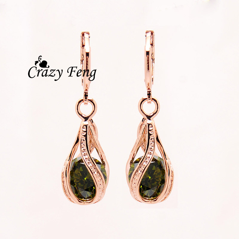 Free shipping Trendy New Women's Rose Gold Color Water Drop CZ Crystal Pierced Dangle Drop Earrings Jewelry Gift