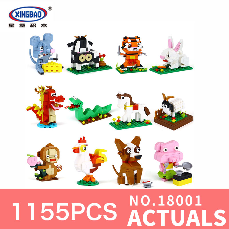 XingBao 18001 The Chinese Zodiac Set 1155Pcs Building Blocks Bricks Funny DIY Educational Toys Model For Children Holiday Gifts 32 32 dots plastic bricks the island straight crossroad curve green meadow road plate building blocks parts bricks toys diy