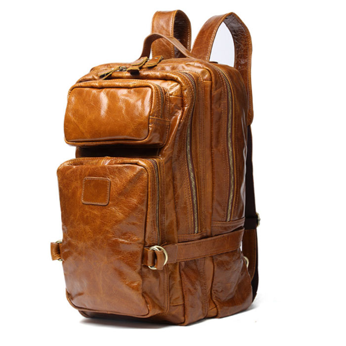 Crazy Horse Cowhide Men Backpack Genuine Leather Vintage Travel Casual School student Book Bags Brand Male Laptop Bags black
