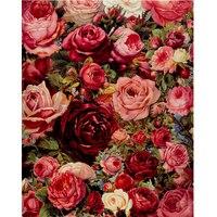2017 Real New Moderne Leinwand Rose Ölgemälde Durch Zahlen Diy Acrylfarbe 40x50 cm Blumen Bilder Wand Rahmenlose kunst Gx7524