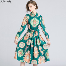 Vintage Single-breasted dress women's autumn turn-down collar long-sleeved printed lace-up fashion elegant midi pleated dress long sleeved dress women 2019 spring summer new simple stripes turn down collar slim a line casual elegant dress midi s xl