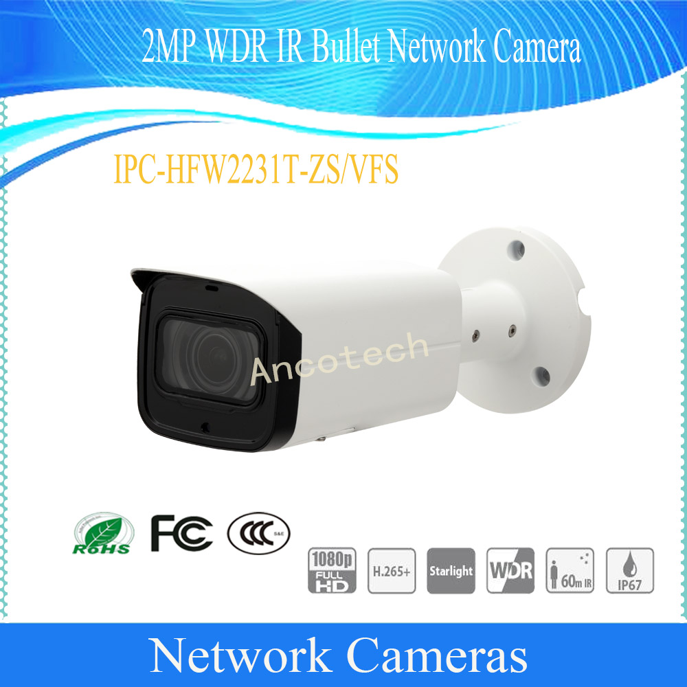 Free Shipping DAHUA Security CCTV IP Camera 2MP WDR IR Bullet Network Camera With POE IP67 DH IPC HFW2231T ZS