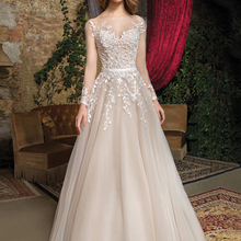 Loverxu Wedding Dress Long Sleeve Bride Dress Court Train