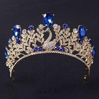 Vàng sang trọng Cổ Điển Màu Xanh Pha Lê Prom Pageant Crowns Cho Phụ Nữ Wedding Bridal Tiara Đối Với Cô Dâu Tóc Phụ Kiện