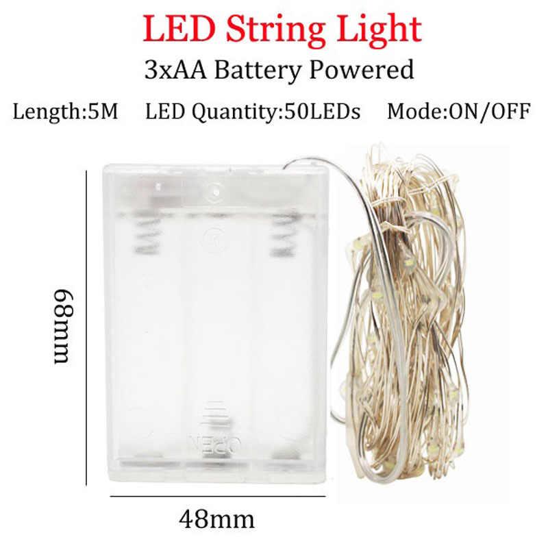 LED String światła 1-10M srebrny drut baterii fairy lights lampa zewnętrzna luces doprowadziły decoracion wróżka światło dla domu strona dekoracji