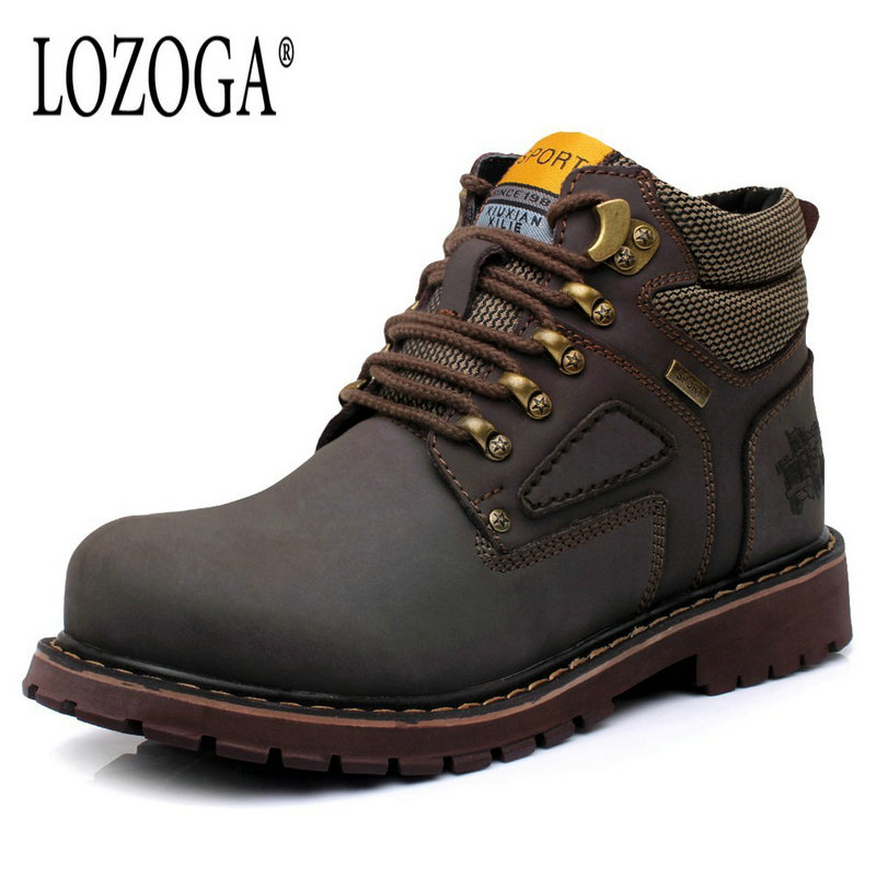 LOZOGA Genuine Leather Mens Fur Winter Boots High Quality Male Work & Safety Boots Lace-Up Handmade Brand Boots Ankle Keep Warm lozoga genuine leather mens fur winter boots high quality male work
