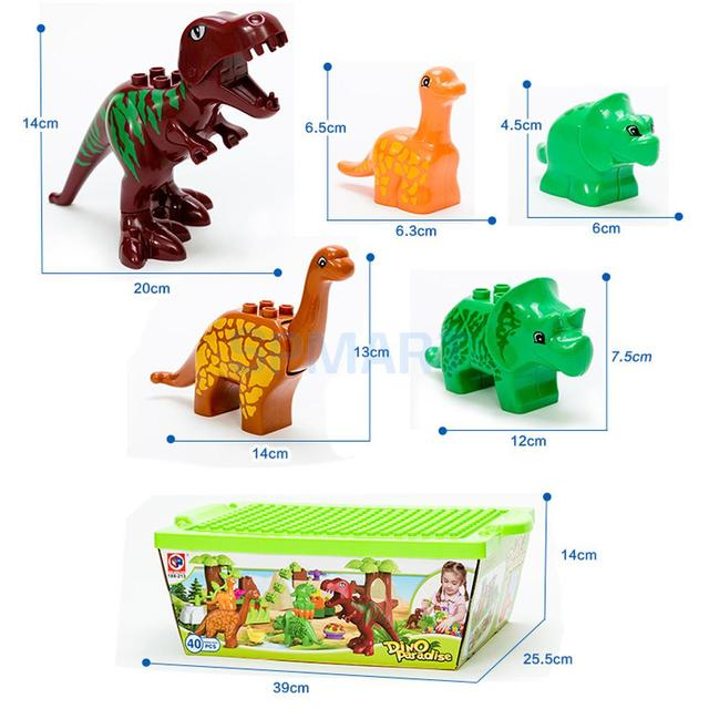 Dinosaur Jurassic Theme Plastic Building Block Toy for Kids Display Brick Educational Toy Children Gift Colorful Set of 40 Pcs