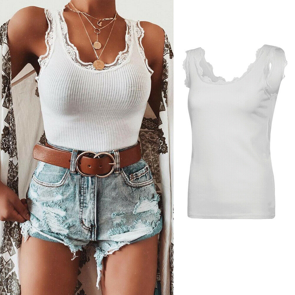 Tank-Top Floral Vest Lace-Up Summer Sexy Women Sleeveless Hot Girl Lady Mujer Top-Chalecos