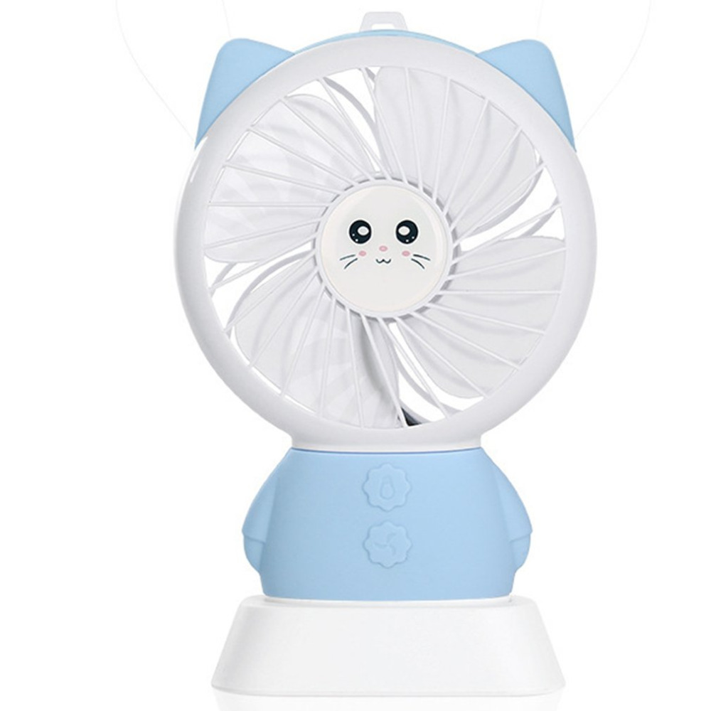 Portable Cat Hand Fan Battery Operated USB Power Handheld Mini Fan Cooler With StrapPortable Cat Hand Fan Battery Operated USB Power Handheld Mini Fan Cooler With Strap