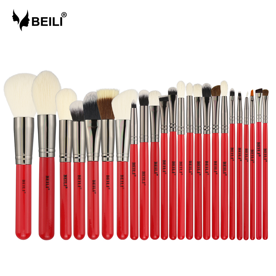 BEILI Red 24pcs Professional Natural Hair Makeup Brushes Set Powder Cream Foundation Blusher Eye blending brow Lip Eyeliner nyx professional makeup simply red lip cream 01 цвет 01 russian roulette variant hex name e93f42