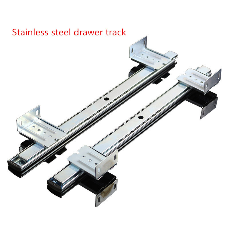 Computer desk drawer orbit keyboard bracket slide rail hoisting crane rail bracket 2 guide rail keyboard drawer slide rail slide chute underpinning guide pulley white mute two rail track