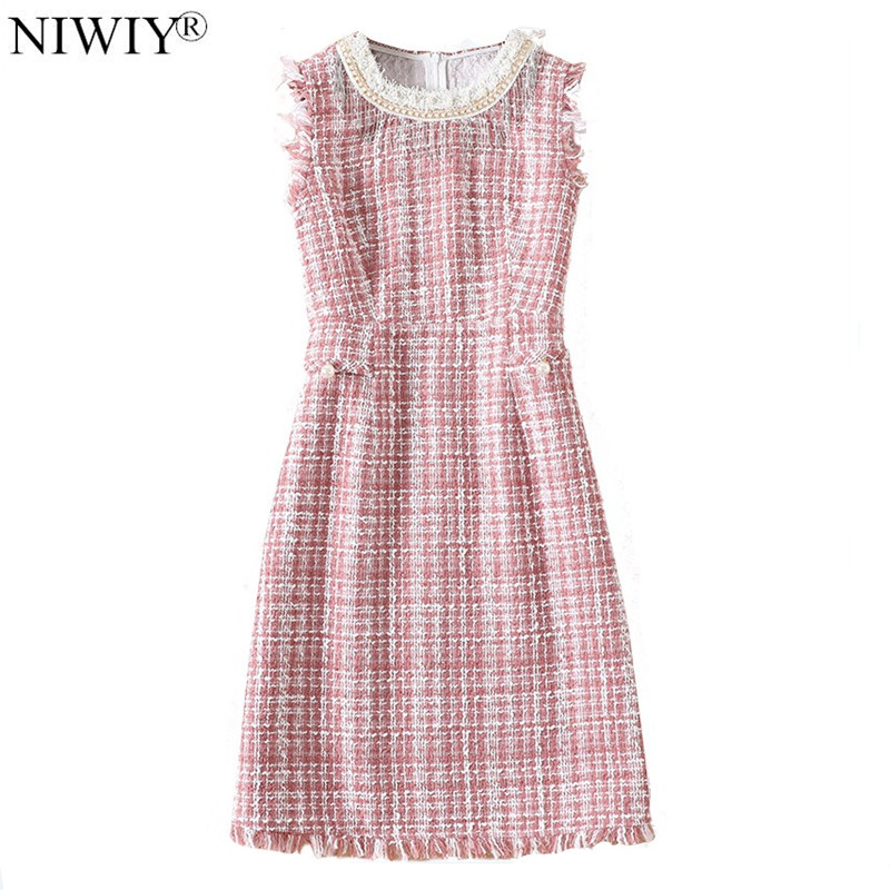 NIWIY Brand Dress Women Gothic Pink Diamonds Bead Party Dress Vestidos Verano 2019 Spring Tweed Women Dresses Robe Femme N9417