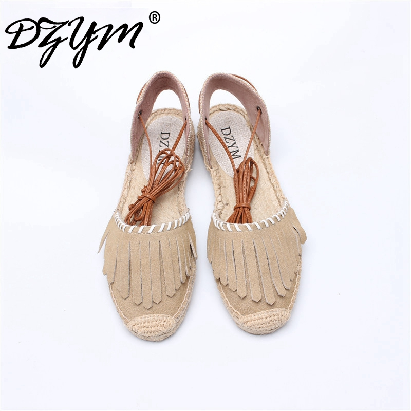 DZYM 2017 New Cow Suede Tassels Women Flats  Loafers Canvas Espadrille Linen Hemp Sewing Zapatos Mujer Fringe Fisherman Shoes the new straw linen canvas shoes men and women weave fisherman couple flats shoes