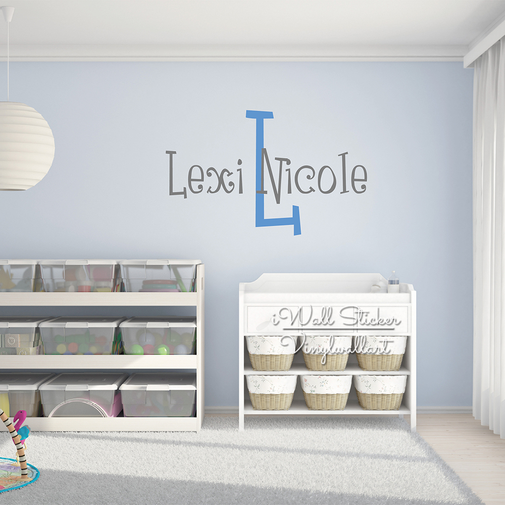 Name Wall Sticker, Baby Name Monogram Wall Decal, Wall Stickers For Kids Rooms, Girls Name Room Decoration, Stickers Muraux C95