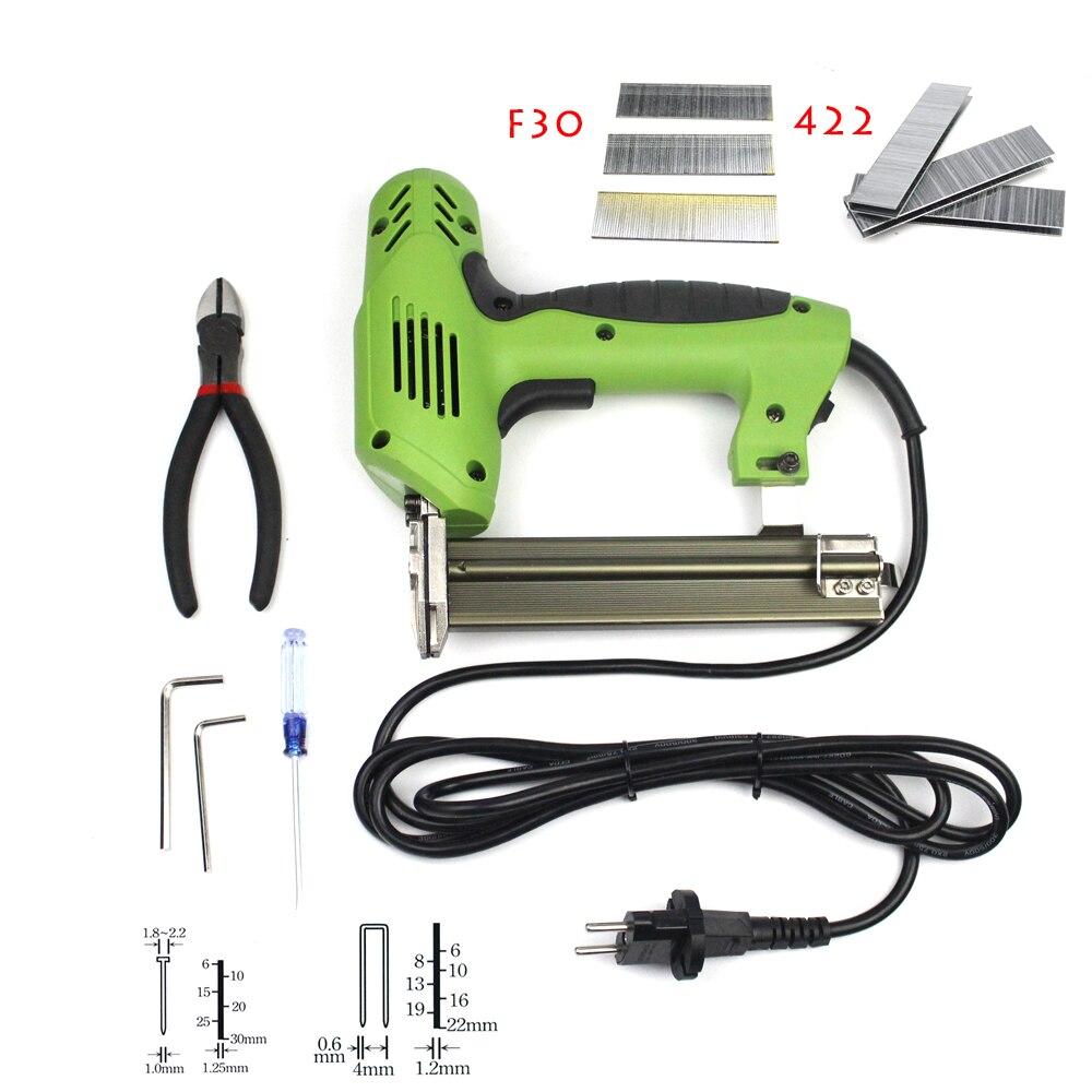 2 Dans 1 Cadrage Agrafeuse Électrique Ongles Agrafeuse 220 V Électrique Outils Électriques Électrique Agrafeuse Gun Avec 600 pcs ongles