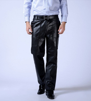 100 Goatskin Real Leather Pants Men Windproof Warm Male Motorcycle Trousers Cotton Lining Can Be Customized