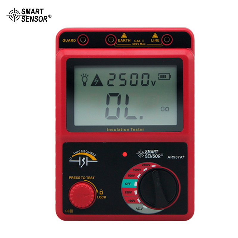 100-2500V Insulation Resistance Tester Digital Megohmmeter AC / DC Voltage Tester Ohm Meter Smart Sensor AR907A 100-2500V Insulation Resistance Tester Digital Megohmmeter AC / DC Voltage Tester Ohm Meter Smart Sensor AR907A