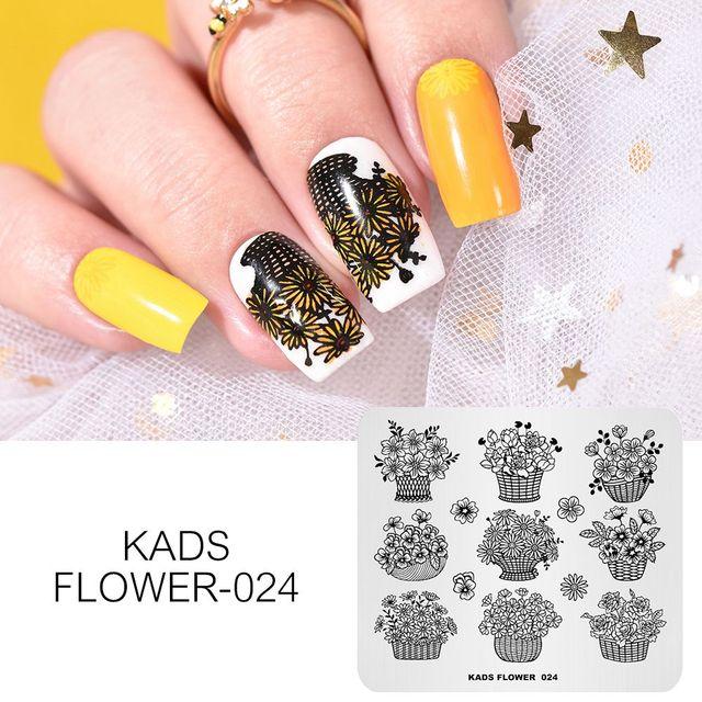 KADS nuevo llegada flor 024 ramo de flores lindo de plantilla de uñas sello clavo polaco manicura placa para uñas decoraciones