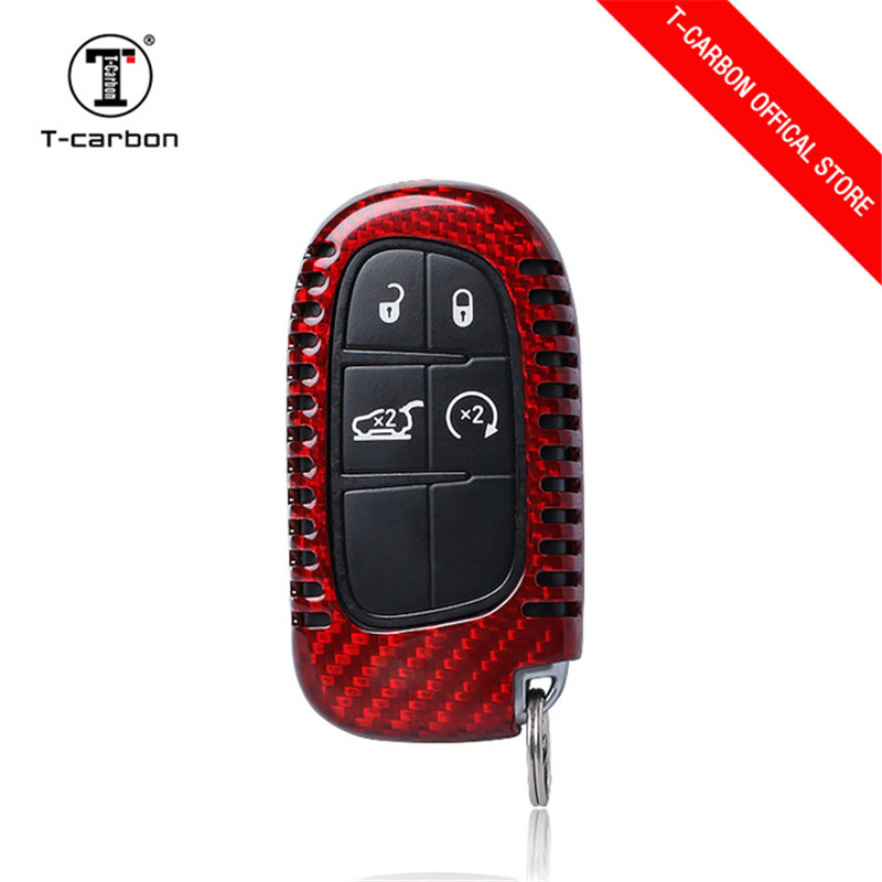 Carbon Fiber High quality key case for Fiat for Jeep Renegade smart key cover car key bag dust collector Auto parts