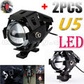 2x Super Bright 125W U5 LED Motorcycle Headlight Driving Fog Light DRL Electric Moto Spot Safety Head Lamp + Switch