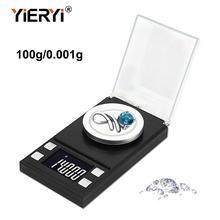 Yieryi 100 г/50 г/20 г/10 г Электронные весы 0,001 ЖК-цифровые весы ювелирные изделия лекарственные травы портативные лабораторные весы с точностью в миллиграммах