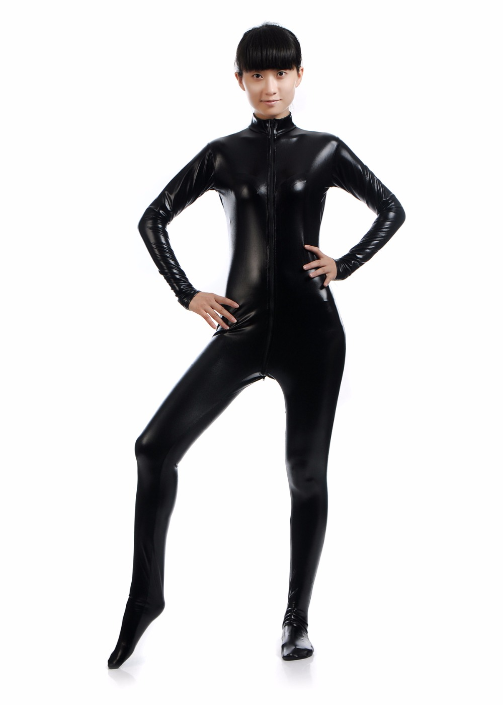 Women's Long Sleeve Black Zentai Suit with Crotch Zipper Footed Turtleneck Unitard Lycra Catsuits Full Zentai Bodysuits Hoodless