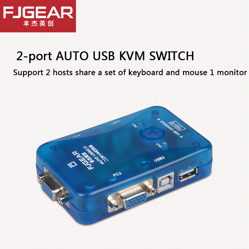FJGEAR 2 Porte AUTO VGA Switch kvm USB Splitter Auto Stampante Controller Tastiera Del Mouse Fino a 1920*1440 Spedizione gratuita