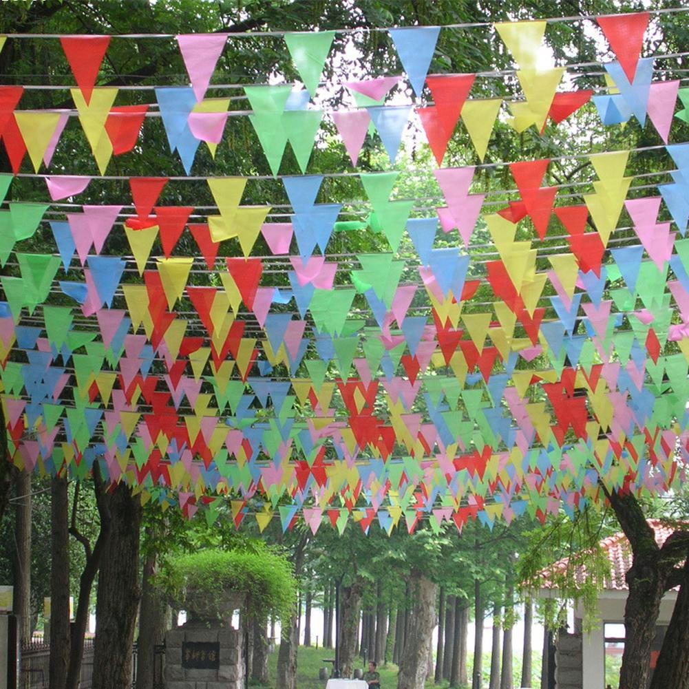 100pcs/Bag Flags Multi Colour Banner Bunting Party Event Home Garden Christmas Party Wedding Birthday Decoration Flags W3