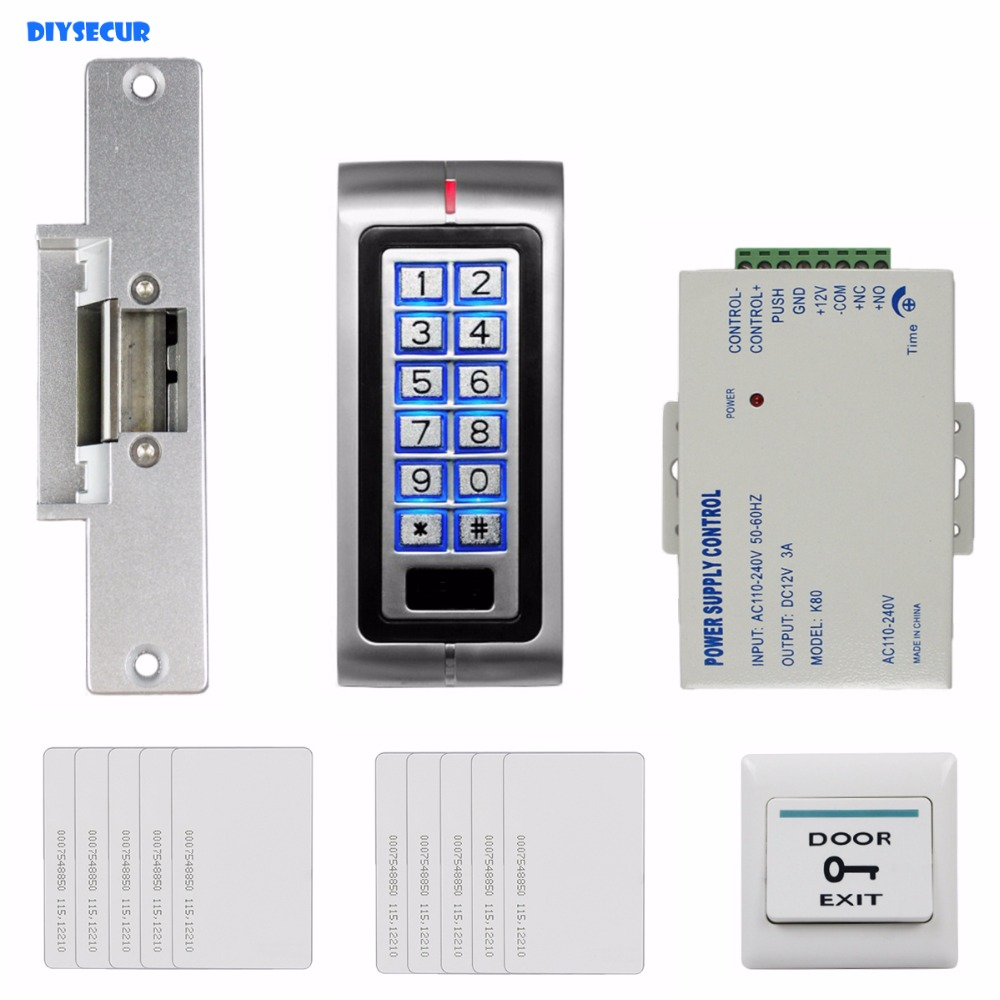 DIYSECUR 125KHz RFID Password Keypad Access Control System Security Kit + Electric Strike Lock + Exit Button K2 diysecur 125khz rfid metal case keypad door access control security system kit electric strike lock power supply 7612