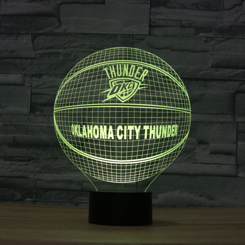 3D Basketball OKLAHOMA CITY THUNDER Illusion Lamp
