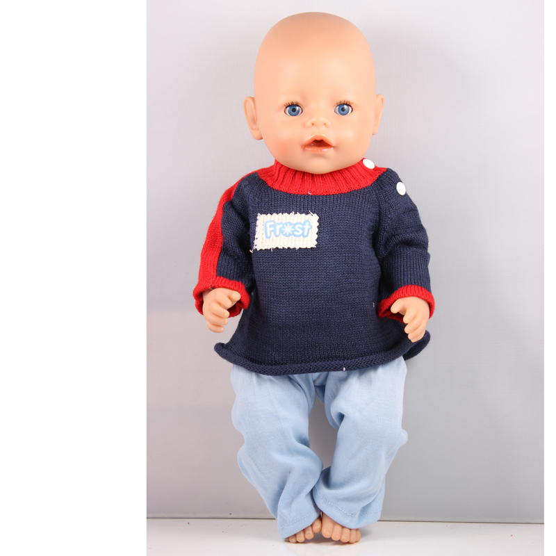 Blue Sweater + Light Blue Pants For 43cm Doll Baby Born Zapf Doll Clothes Children Best Birthday Gift ZD26 рубашка insight bayou born diy oldy beaten blue