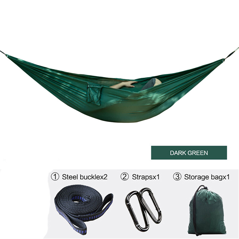 Camping Hammock Double Camp Hamac Portable Lightweight Nylon Fabric for Outdoor Travel Suspension Handy Hammoc