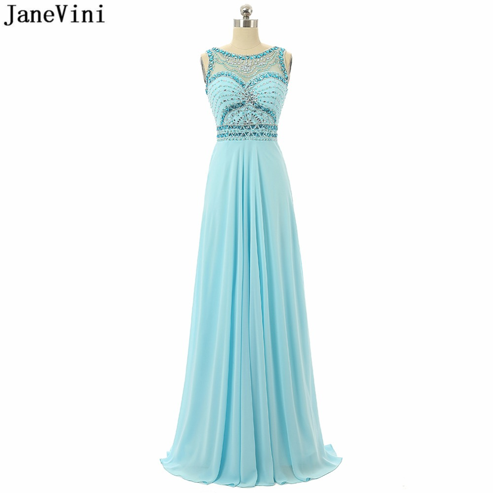 JaneVini Elegant Light Sky Blue Chiffon Plus Size Long Bridesmaid Dresses  Scoop Neck Beading Backless A Line Wedding Party Gowns-in Bridesmaid Dresses  from ... 25fa64b1c541
