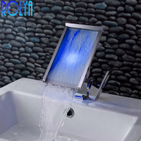 ROLYA Color Changing Brass Single Handle Led Water Faucet Basin Mixer Taps