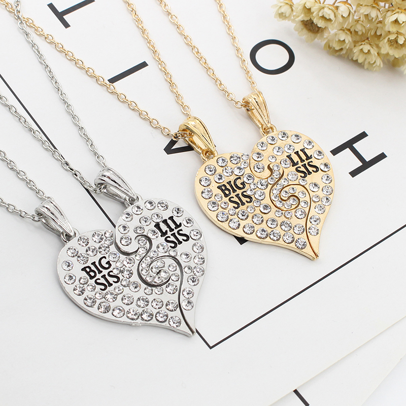 2 Pieces/set Of Simple Ladies Necklace Good Sisters Heart-shaped - Fashion Jewelry - Photo 4