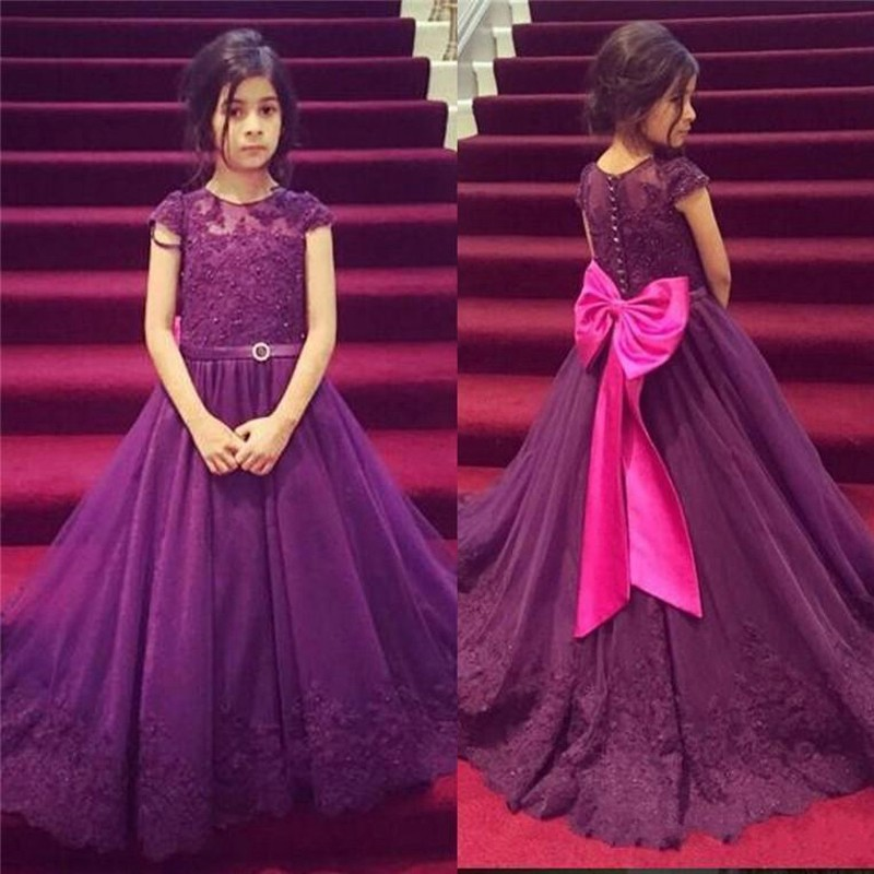 Flower Girl Dresseses Beaded Floor Length Organza Lovely Purple Long Girls Pageant Dress Bow Appliques 2016 Vestido Longo
