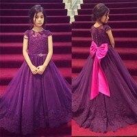 Flower Girl Dresseses Beaded Floor Length Organza Lovely Purple Long Girls Pageant Dress Bow Appliques 2016 vestido longo