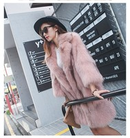 80 см Hots продажа корейский стиль моды с натуральным лисьим мехом длинные пальто Для женщин Мода Настоящее Фокс меховая куртка с поясом зимня