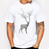 Brand T Shirt 2017 Fashion Deer Print T Shirts Mens Casual Short Sleeve Summer Clothing Hipster