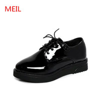 Shoes woman 2018 High Quality Women oxfords Flats Platform shoes Patent Leather ladies black shoes for women chaussures femme