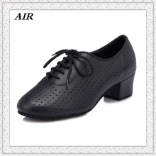 Black Latin Dance Shoes Woman Breathe Leather Soft Outsole Lace-up Square Low Heel Salsa Shoes Girls Ballroom Dance Shoes Female